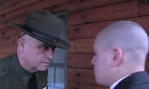 A Forest Ranger or ECO recruit comes face to face with an academy drill sergeant