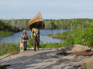 "Dave and Amy Freeman in Minnesota's Boundary Waters for the film, ""Bear Witness"""
