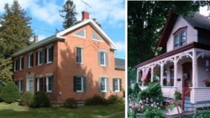 Left Mace Chasm Road farmhouse, Keeseville. Right Warrensburgh