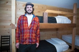 Dylan Smith at his hostel in North River.