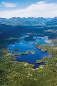 Aerial Boreas Ponds, Adirondacks, summer