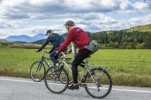 bikers on a rural road in Reber