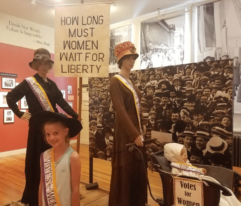 Ava Roberts of Peru visits the Adirondack History Museum's new exhibit Adirondack Suffragists