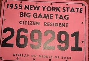 New York State Hunting Back Tag
