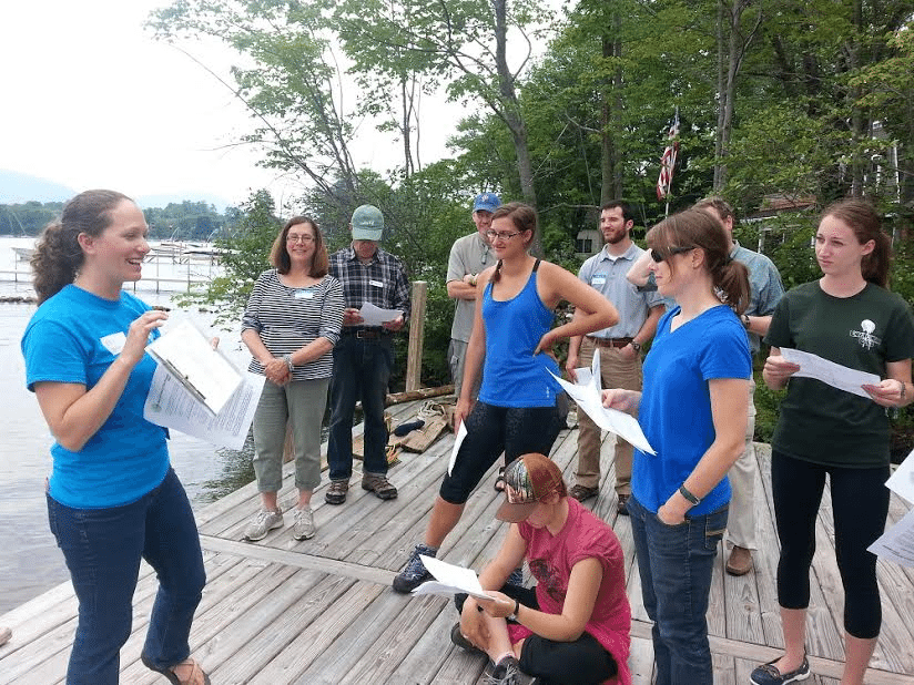 AIS-training: Volunteers are shown how to complete survey data sheets to contribute to a region-wide lake monitoring program led by APIPP's Aquatic Invasive Species Program Coordinator Erin Vennie-Vollrath