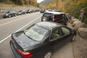 Cascade Mountain parking on Sunday, October 15, during Columbus Day weekend