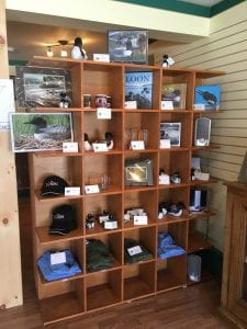 Merchandise display in the newly opened Adirondack Center for Loon Conservation in Saranac Lake