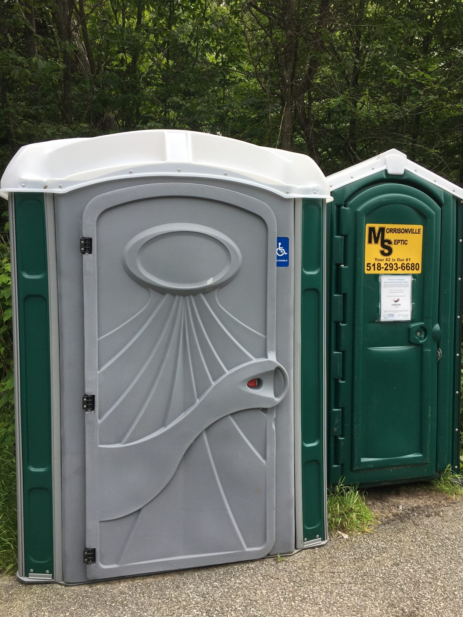 New ADA-approved Porta-John and regular one at Cascade trailhead