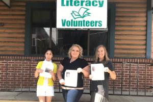 Mindy Malbon, LV student, Jamie Armstrong, LV tutor, and Marie Despres, LV Director