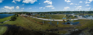 Overhead view of Flanders Park during the 2017 Tupper Lake Tinman competition