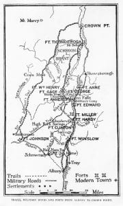 Trails, Military Roads and Forts from Albany to Crown Point 1750-1780