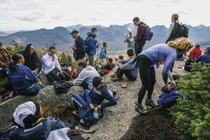hikers on Big Slide Mt on a prime autumn dayhikers on Big Slide Mt on a prime autumn day