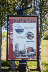 historic interpretive signs along Flanders Park waterfront walkway