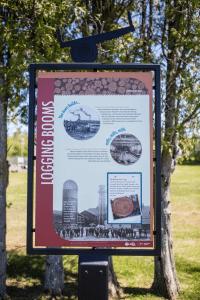 historic interpretive signs along Flanders Park waterfront walkway