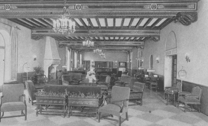 hotel saranac lobby postcard