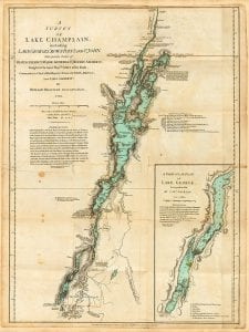 Map of Lake George and Lake Champlain