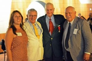 Featured left to right: Beth L. Hill, President & CEO of Fort Ticonderoga; Sanford Morhouse, Fort Ticonderoga Association Board Chairman; Peter S. Paine, Jr., Fort Ticonderoga Trustee Emeritus and award recipient, and Anthony Pell, Fort Ticonderoga Trustee Emeritus