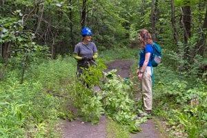 Caroline Colan meets trail builder Ama Koenigsh at new universal access trail at the Conservancy's Boquet River Nature Preserve