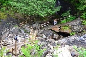 stone bridge people hiking