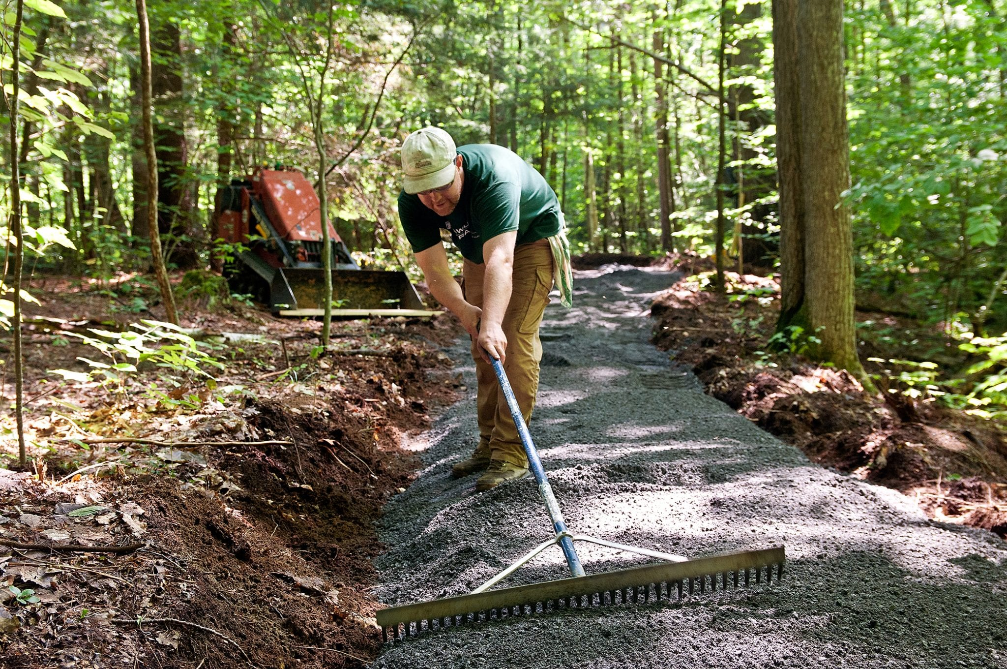 Kevin Simpson, a member of the Tahawus Trails LLC professional trail crew building a new universal access trail at The Nature Conservancy's Boquet River Nature Preserve in Willsboro,