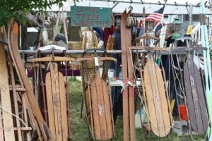 Antique sleds and skis at the Antique Show and Sale