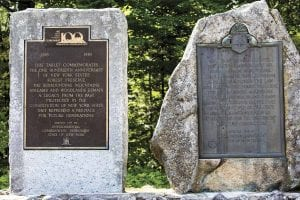 Monuments at Monument Falls along the West Branch of the Ausable River near Lake Placid