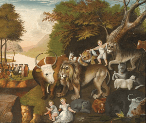 The peaceful kingdom with the leopard of serenity, by edward hicks, courtesy barbara l gordon collection