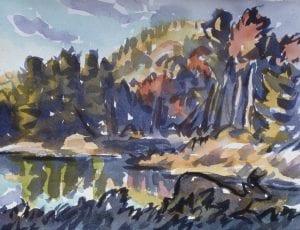 Wynn Pond in Autumn, wc,7x9,1995(72)