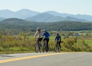 Bike the Barns participants ride past agricultural landscapes and mountain views in Essex