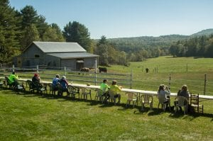 Bike the Barns riders eat local food lunch at DaCy Meadow Farm in Westport