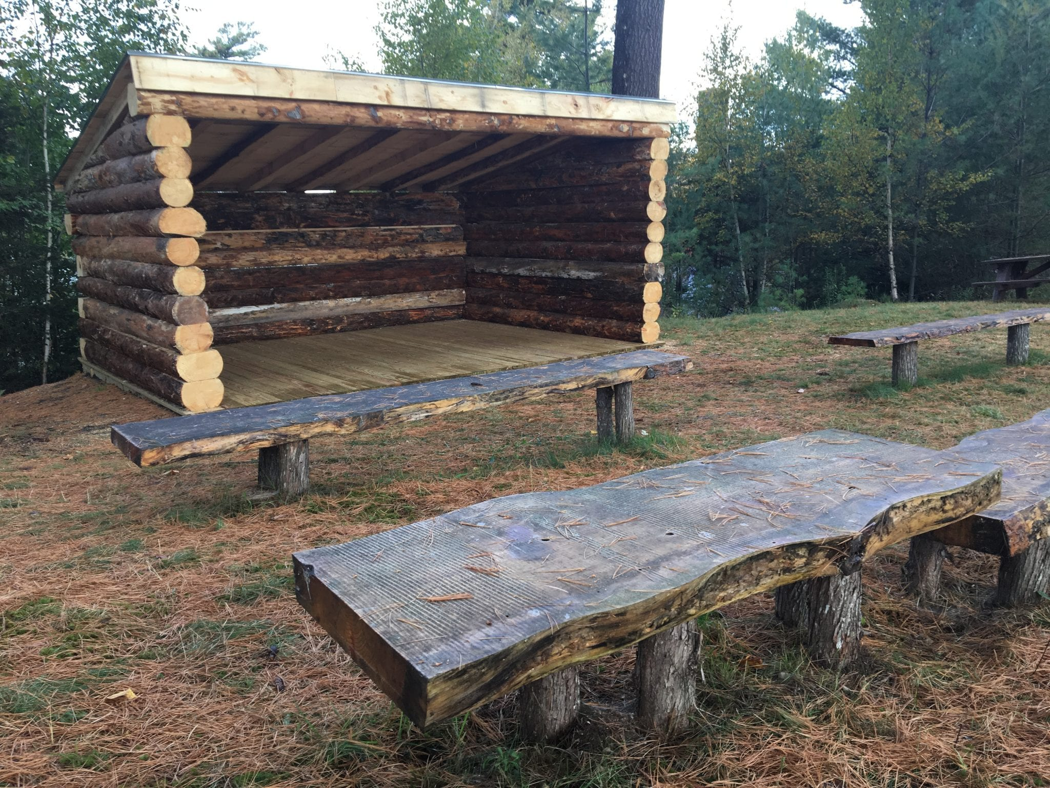The outdoor classroom on the Saranac Lake campus of North Country Community College, located behind Hodson Hall