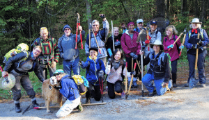 Thirteen Volunteer Vacationers from around the country worked with CATS, guided by CATS Trail Steward Bill Amadon (second from left) and Abby-the-Golden-Retriever