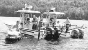 Lake George Park Commission's Marine Patrol with Sheriff's officers at Log Bay