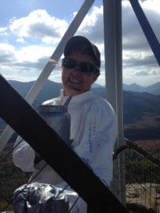 Barbara Juh of Keene, paiting the tower