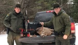 ECOs Nicols and Brassard with the buck and crossbow