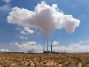 Navajo Generating Station emitting flue gas emissions near Page, Arizona, United States