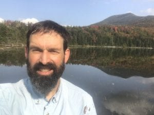 Willie at White Lily Pond, with Allen Mountain in background