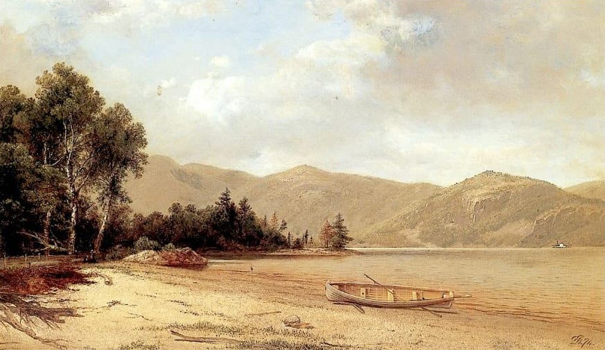 "David Johnson, ""View of Dresden, Lake George,"" 1874, oil on canvas, 14.5 x 24.25 in.,"