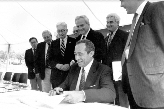 Governor Mario Cuomo signs the Environmental Protection Fund Act