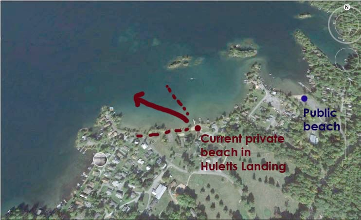 Author's annotated map of Huletts Landing