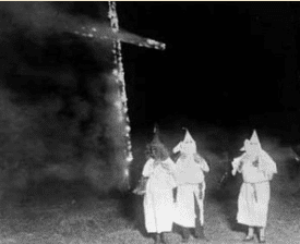 A KKK cross-burning