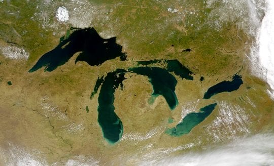 Great Lakes Basin From Space