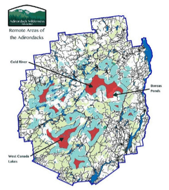 Remaining areas of the Adirondack Park that are more than 3 miles from a road or snowmobile trail