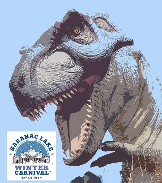 Saranac Lake Winter Carnival Logo with Dinosaur