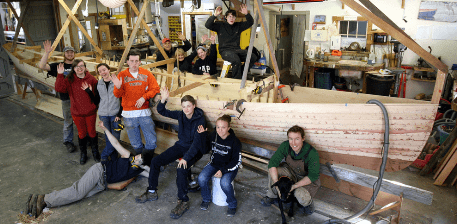 Frank Beckett, 32' pilot gig and students from the Hannaford Career Center's Diversified Occupations Program and Middlebury High School
