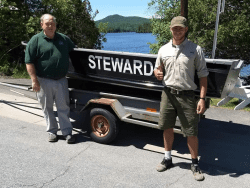 Stewards Tim Leach and Jake Collins with the new boat