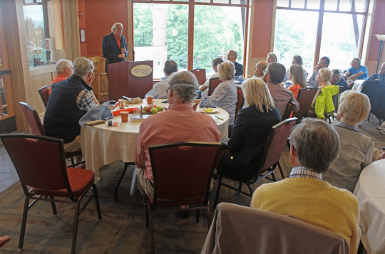 Peter Kiernan address the Lake Placid Institute's Roundtable