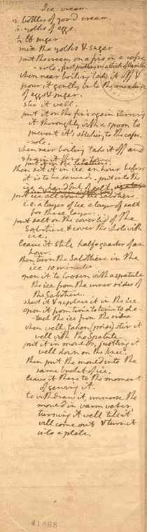 Thomas Jefferson's recipe for vanilla ice cream