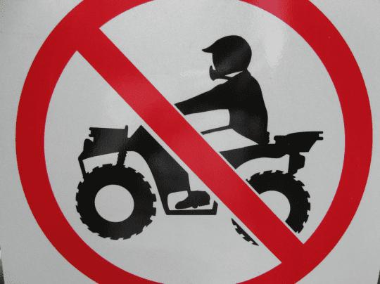 No ATV sign courtesy Flickr user Peter Blanchard
