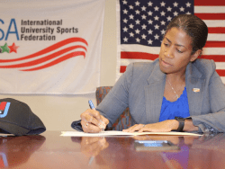 United States International University Sports Federation Secretary General Delice OMeally signed the Host City Contract
